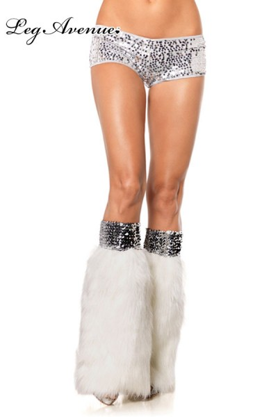 Leg Avenue: Furry leg warmers with wide sequin elastic top. whit