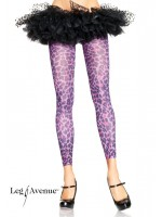 LEG AVENUE  Leopard print footless tights PURPLE.