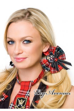 Leg Avenue: Plaid school girl hair bows with crest applique