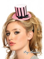 Leg Avenue: Velvet striped clip-on petite satin top hat.