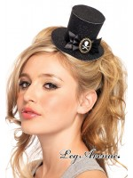 Leg Avenue: Skull cameo glitter clip-on petite top hat.