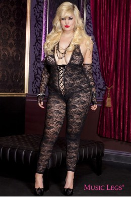 Music Legs: romantic floral lace bodystocking. XL