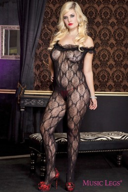 Music Legs: bodystocking with lace ruffle. XL.