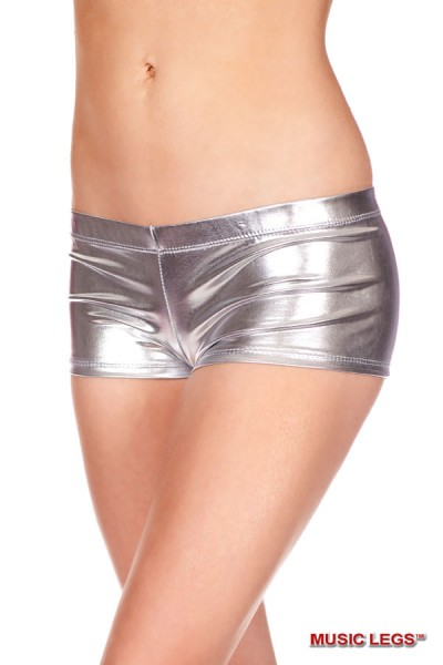 Music Legs: shiny stretch shorts. Silver.
