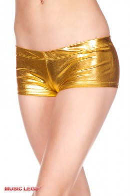 Music Legs: shiny stretch shorts. Gold.