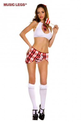 Music Legs: key hole top with tie, matching skirt and panty.