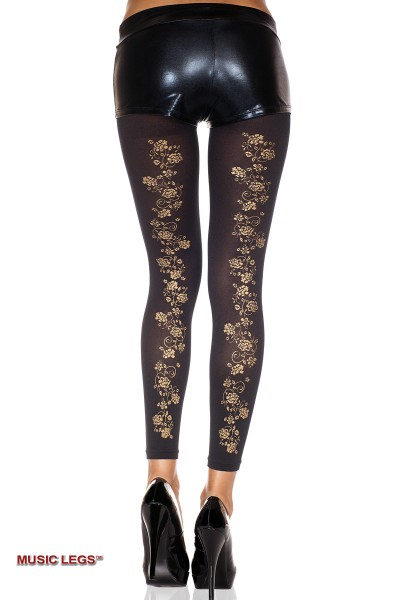 Music Legs: leggings with gold floral.