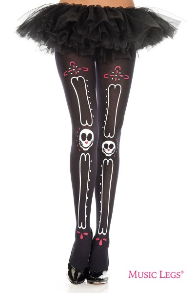 Music Legs: pantyhose with bones and sugar skull print.