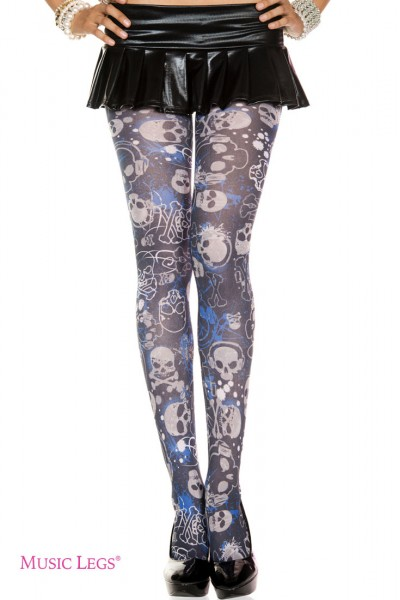 Music Legs: gothic graphic opaque pantyhose.