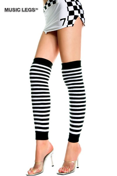 Music Legs: over the knee striped warmers.