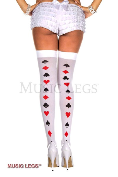 Music Legs: Thigh hi with poker cards backseam.