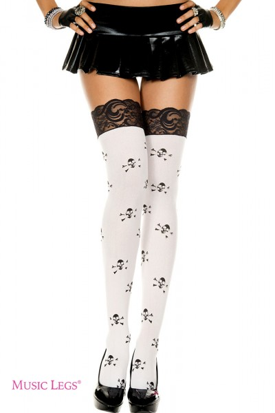 Music Legs: thigh hi with lace top and crossbone print.