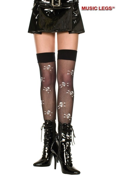 Music Legs: thigh hi with crossbone print.