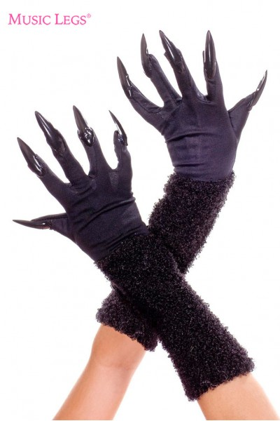 Black gloves with nails