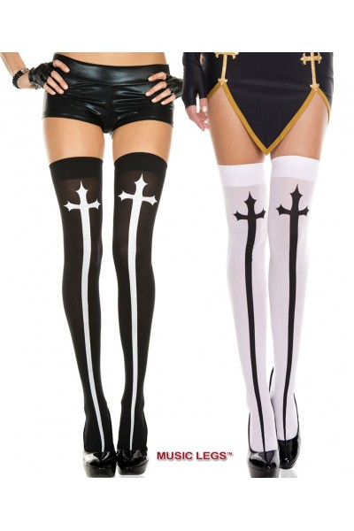 Music Legs: thigh hi with big gothic cross.