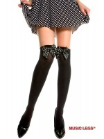 Music Legs: opaque thigh hi with polka dot bow.