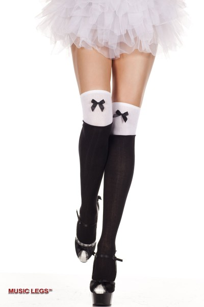 Music Legs: thigh hi with satin bow.