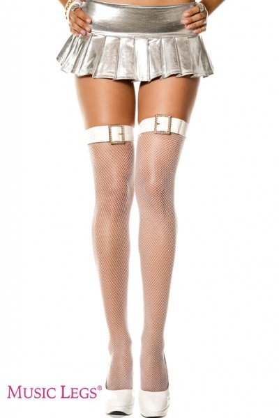 Belt and faux rhinestone buckle fishnet thigh hi. White