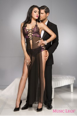 Sheer gown with multiple strap detail + panty.