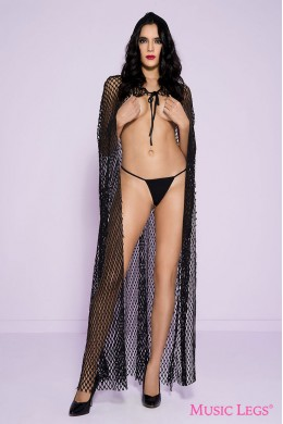 Fishnet cape with attached hood.