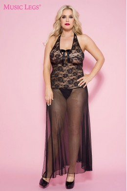 Long sheer lace gown with bow accent.