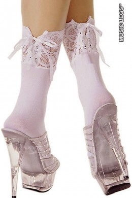 Music Legs: opaque ankle hi with adjustable lace.
