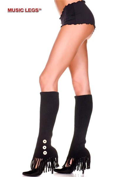 Music Legs: leg warmer with frills and side buttons.