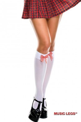 Music leg: opaque knee hi with bow.