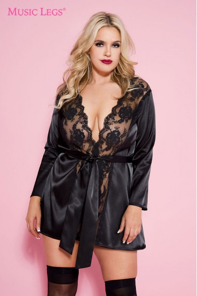 Long sleeve satin robe with lace scalloped trim. XL