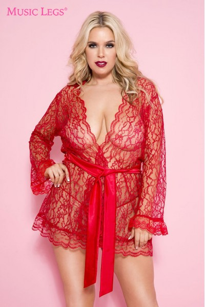Lace robe with scalloped trim and satin belt. Red XL