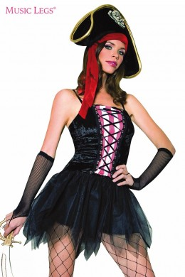 Velvet lace up pirate queen costume.