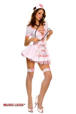 Music Legs: pink sexy nurse costume 4 pcs.