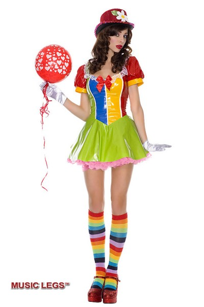 Music Legs: clown on the town costume.