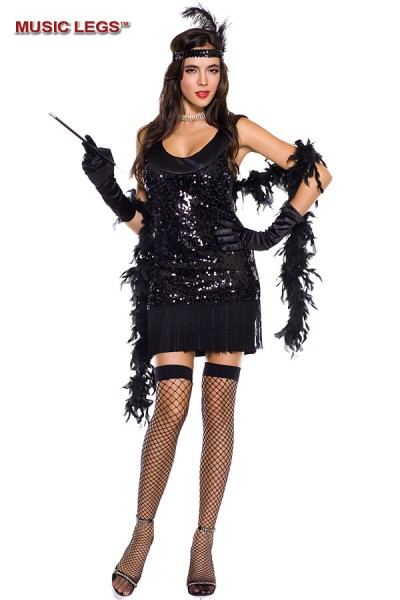 Music Legs: 5 pc. sequined and fringed flapper dress.