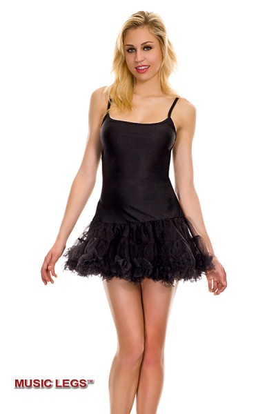 Music leg: petticoat dress with adjustable straps.