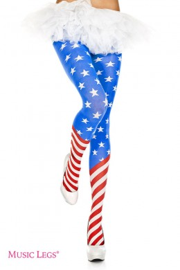 Music Legs: pantyhose with American flag print.
