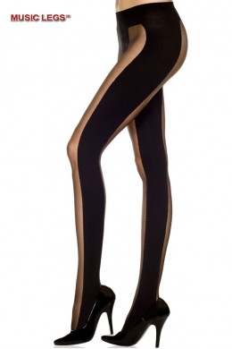 Music Legs: pantyhose with wide opaque striped tights.