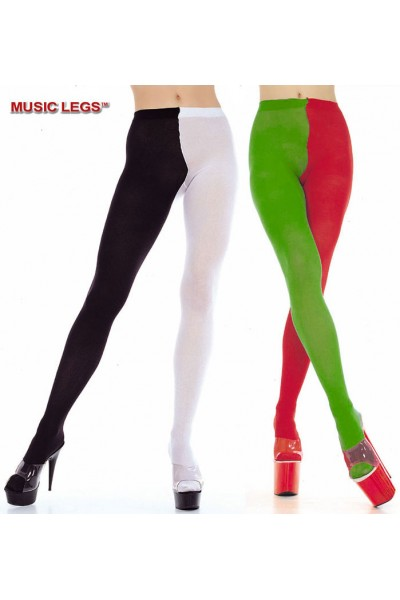 Music Legs: opaque jester tights two tone.