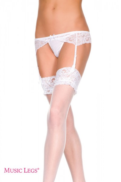Music Legs: lace and Satin garter skirt. White L/XL
