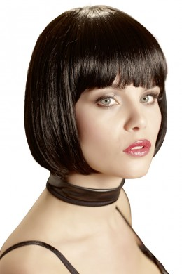 Wig in bob hairstyle with fringe