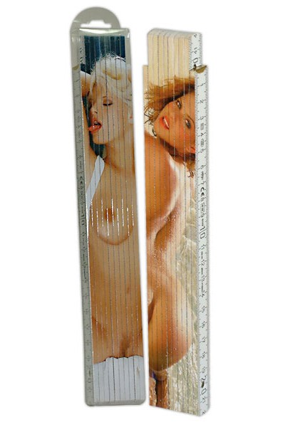 Folding ruler with sexy pictures.