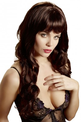 Long wig with fringe and slightly waved tips.