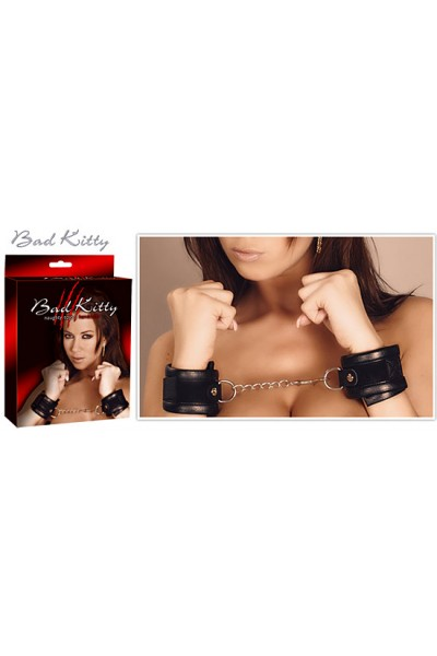 Leather wrist cuffs with chain.