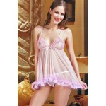 SUNSPICE - baby doll rosa in tulle e pizzo