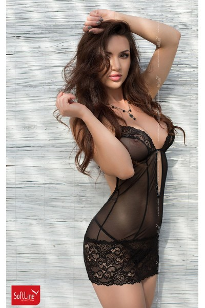 Tulle chemise with lace inserts. Black.