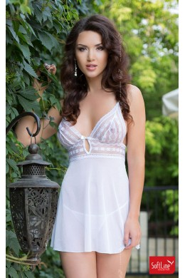 Tulle Babydoll with embroidered lace. White.