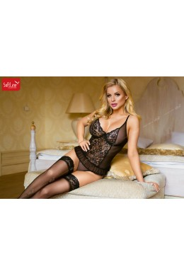 Tulle and lace corset with panties. Black.
