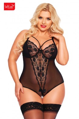 Tulle and lace bodysuit with crossed strings. Black. Plus size.
