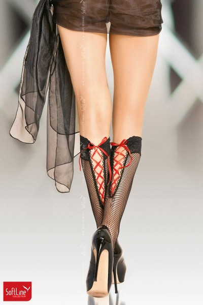 Softline - Knee highs with red lacing.