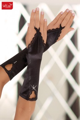 Softline -  Flip flop gloves with lace and rhinestone. Black